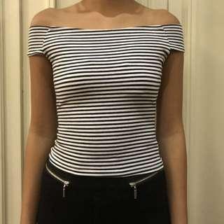 Striped Off Shoulder Crop Top