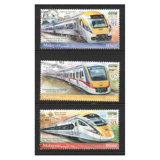 MALAYSIA 2018 RAILWAY ELECTRIC TRAIN SERVICE COMP. SET OF 3 STAMPS IN MINT MNH UNUSED CONDITION