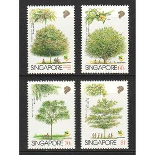 SINGAPORE 1996 TREES CARE FOR NATURE SERIES COMP. SET OF 4 STAMPS IN MINT MNH UNUSED CONDITION