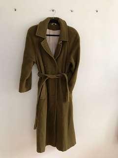 Dark green khaki color wool coat