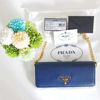 Prada IBP290 Chain Wallet in Bluette / Blue Color