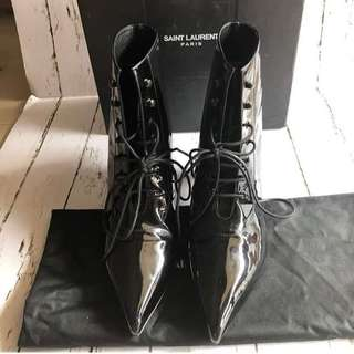 YSL Boots Ankle Black Patent