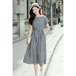 全新#清新黑白格子方領短袖洋裝