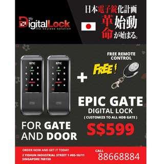 Epic Triplex 2way Card Digital Lock for HDB/BTO Main Door and Metal Gate at $599 (Call 8668884)