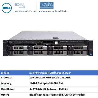 🚚 Dell PowerEdge R520 Server 2U 12-Core 2x E5-2430 2.2GHz Six-Core 16GB RAM 4x 2TB HDD H710 iDRAC7
