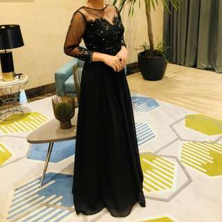 Evening Black Gown with sleeves