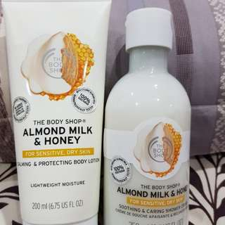 The Body Shop Almond Milk and Honey Body Lotion and Shower Cream