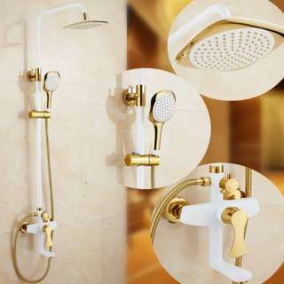 "8"" Luxury White Gold Shower Set"