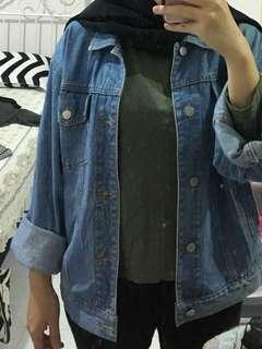 Oversized Denim Jacket Fade Blue