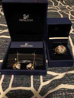 Swarovski Set -earrings + ring