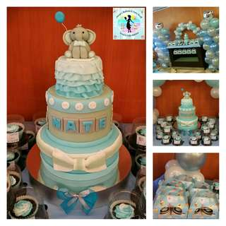 Party Package: Three-Layer Cake, Giveaway Cupcakes, Balloon Pillars and Arch