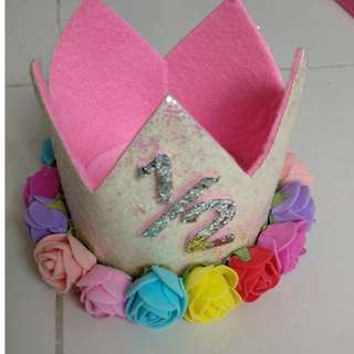 Imported Happy birthday Crown with flowers for half year birthday of baby