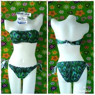 Bandeau Style Peacock Two Piece Swimsuit