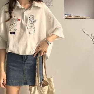 全新 女裝 R544515 五分袖印花t恤寬松顯瘦POLO領上衣學生女