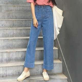 全新 女裝 R942558 秋裝直筒牛仔褲高腰寬松學生九分闊腿褲女