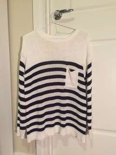 Navy and white striped jumper with pocket