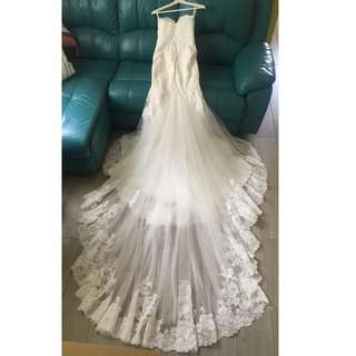Sweetheart Mermaid Wedding Gown with 4-tier and a Cathedral Train