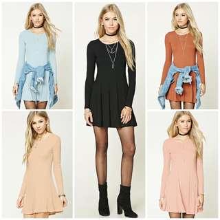 Ribbed Mini Swing Dress