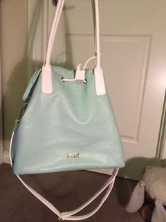 Kate Hill Tiffany coloured bag with white handles