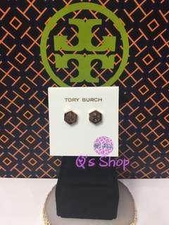 Tory burch hexagonal logo earrings