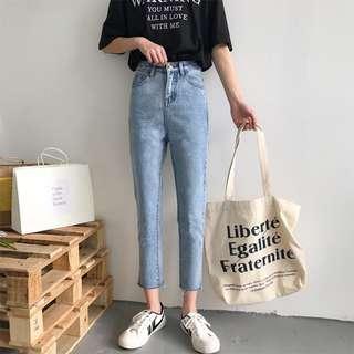 全新 女裝 R674971 春季學生須邊牛仔褲高腰修身顯瘦九分直筒褲女