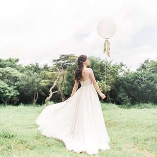 Light Weight Wedding Gown with Tie Waist Inspired by BHLDN Watters Penelope Collection