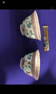 Qing Peranakan cups. Pair