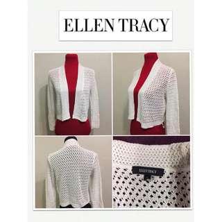Ellen Tracy Crochet White Cropped Cardigan