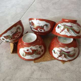 Chinese Coral Red Porcelain Bowls🌹