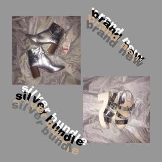 REPRICED BUNDLE! Stradivarius Silver Shoes