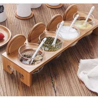[One set] Seasoning Jar with Wooden Holder