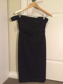 Black bandeau dress with front split and shoulder detail