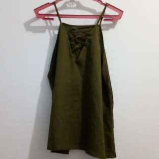 Olive green top (criss cross) ADULT clothing