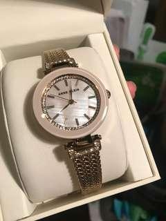 Anne Klein gold watch with swarovski crystals