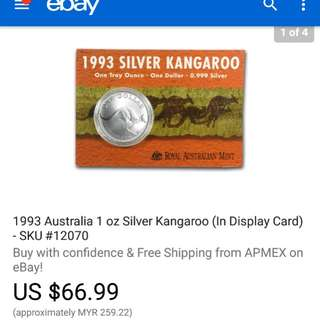 1993 1 Oz Australia Silver Coin in Display Card