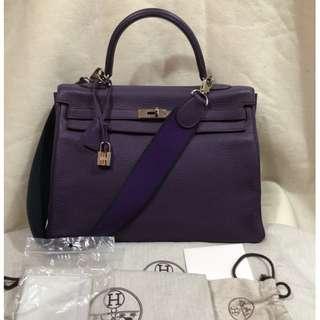 HERMES 35cm ultraviolet clemence kelly retourne Bag (stamp P - 2012)
