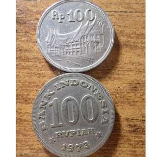 100 Rupiah tahun edar 1973 dan 1978