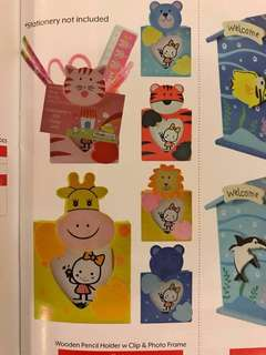Children's Gifts: Assorted Wooden Pencil Holder w Clip & Photo Frame (MOQ sets of 12)