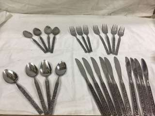 stainless spoon and fork