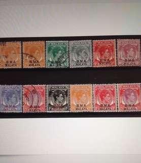 Malaya 1945 BMA opt Straits Settlements KG VI 8V Used & 4V Mint (MA1250)