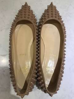 Christian Louboutin Follies Spikes Flats (SIZE 40) IN NUDE