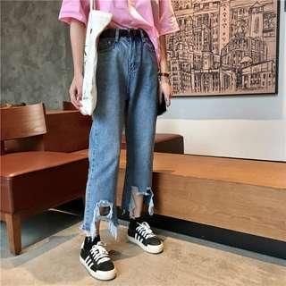 全新 女裝 R99745 破洞九分直筒褲寬松顯瘦須邊牛仔褲學生女