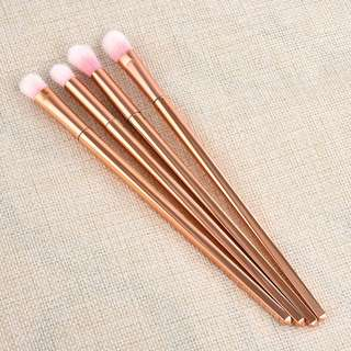 Metallic Rose Gold Skinny Makeup Brush Set 4pc/set