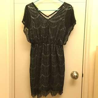 99%new 黑色lace連身裙 / free size