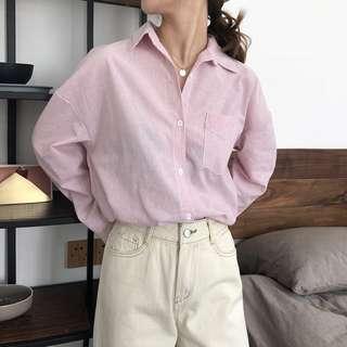 全新 女裝 R783666 寬松休閑條紋翻領襯衫春季簡約長袖襯衣