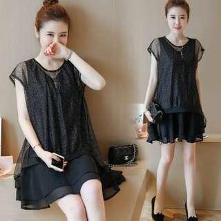 72517 #大碼新款拼接超柔網雪纺針織連衣裙  尺码:L 5XL 3XL 2XL XL 4XL  颜色:黑色