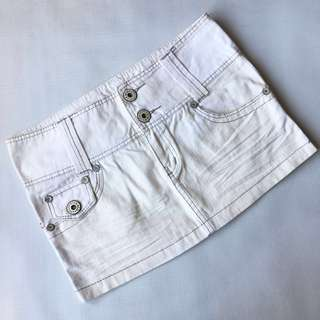 White Denim Mini Skirt Low Waist