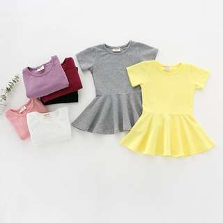 BMT438 - Plain Tee Skater Dress *Cotton*