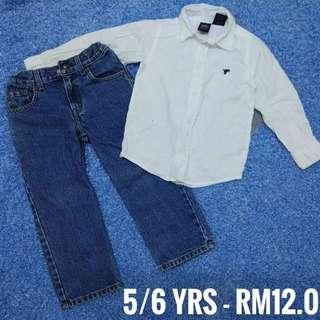 5/6 years - Kids Cloth Shirt Dress Baby Girl Boy Jeans