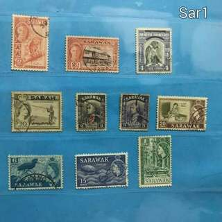 Set of old Sarawak and North Borneo stamps